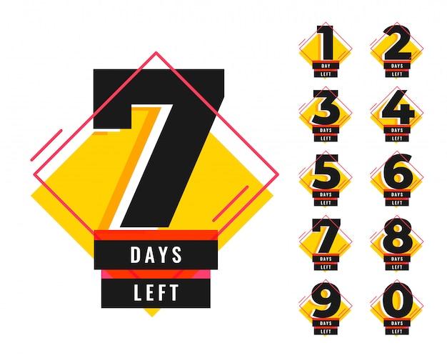 Número de días restantes de banner de plantilla promocional