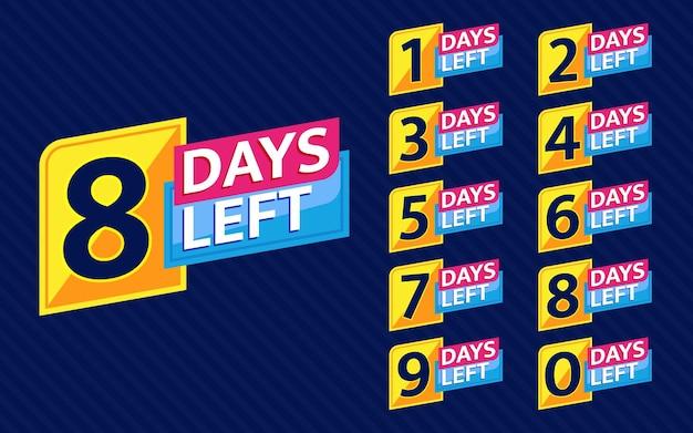 Número de días restantes conjunto de banners de cuenta regresiva