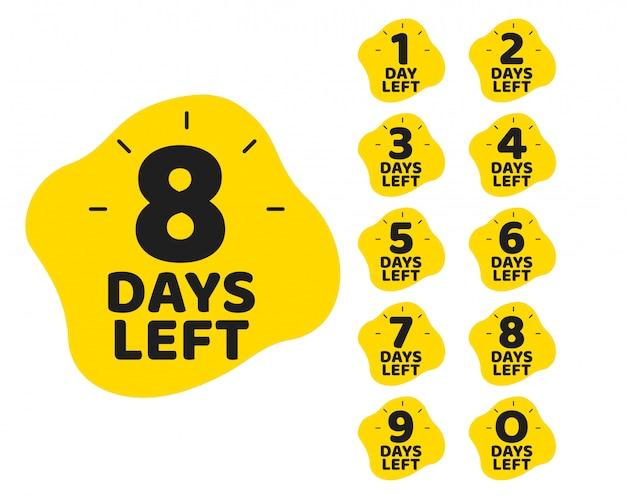 Número de días restantes conjunto de plantillas de marketing promocional
