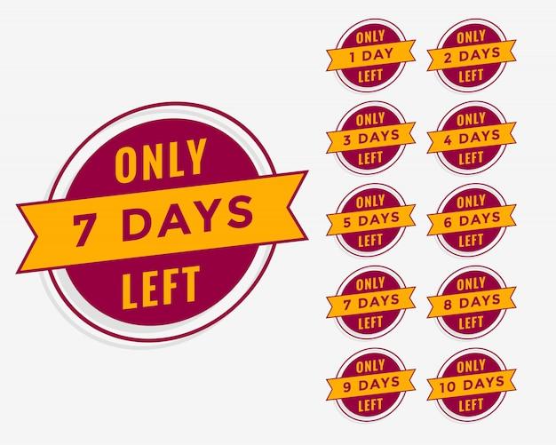 Número de días restantes de cuenta regresiva para venta o banner de promoción