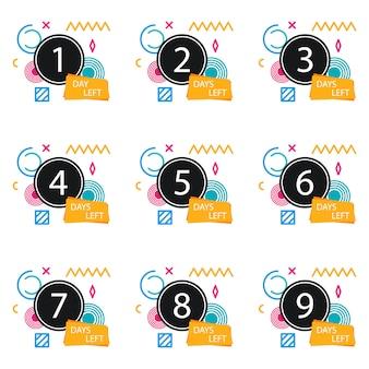 Número de días restantes de la insignia, para promoción, venta, plantilla, folleto, pancarta, póster y otros