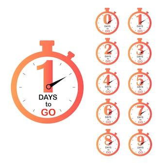 Número de días restantes. insignias días por delante