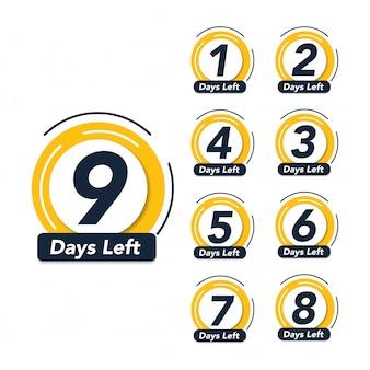 Número de días restantes promocional venta banner símbolo insignia