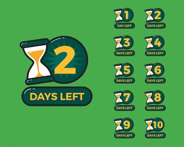 Número de días restantes con reloj de arena reloj de arena