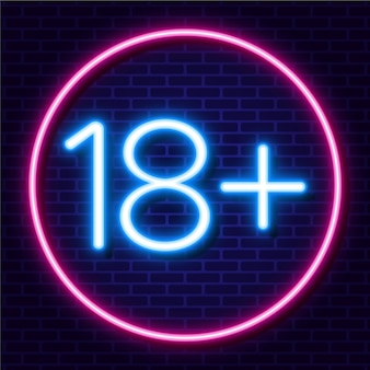 Número dieciocho más en estilo neón