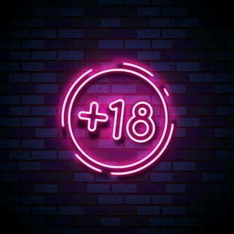 Número dieciocho más en letrero de estilo neón