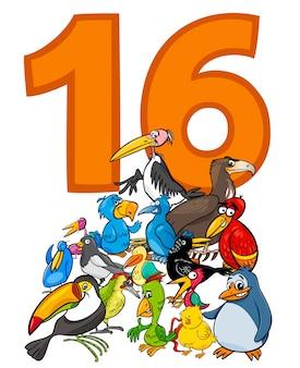 Número dieciséis y grupo de pájaros de dibujos animados