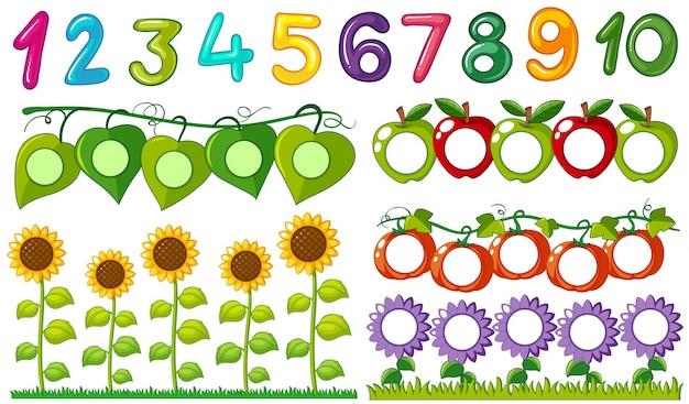 Número uno a diez con marcos de hojas y flores