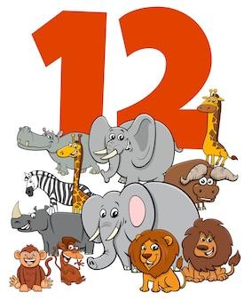 Número doce con grupo de divertidos personajes de animales