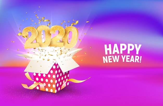 Número dorado 2020 volar desde caja de regalo colorida