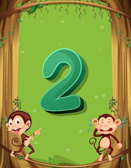 Número dos con 2 monos en el árbol.