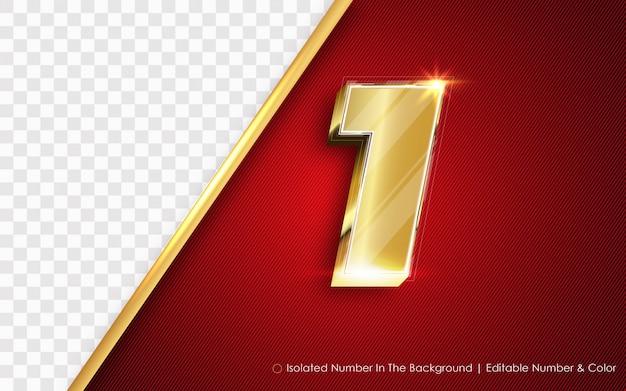 Número uno editable en el fondo, estilo dorado