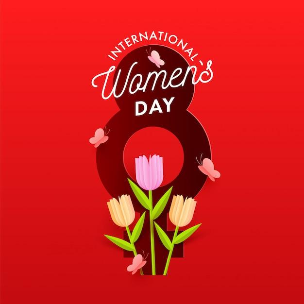 Número de estilo de papel rojo 8 con fondo de símbolo de género femenino tulip flowers y mariposas decoradas para el concepto de celebración del día internacional de la mujer.
