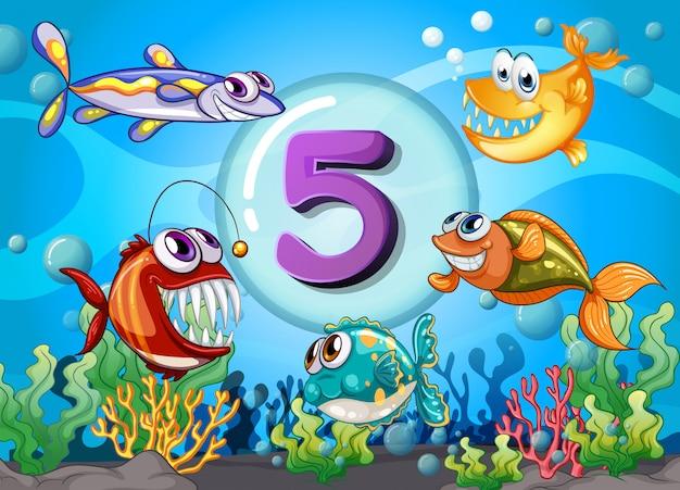 Número de flashcard con peces bajo el agua