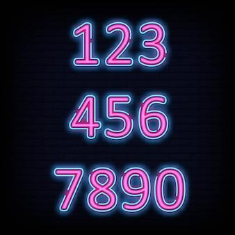 Número fuente tipografía signo de neón estilo