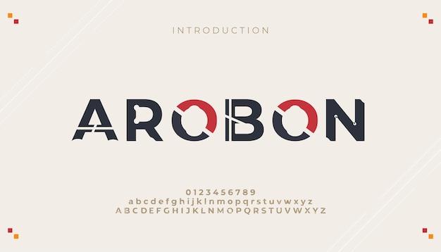 Número y fuentes del alfabeto mínimo moderno abstracto creativo