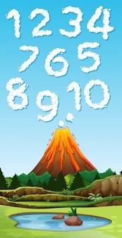 Número de letra del humo del volcán