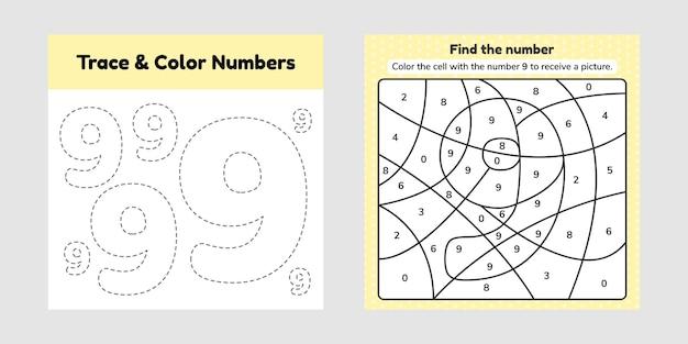 Número de libro para colorear para niños. hoja de trabajo para preescolar, jardín de infantes y edad escolar. trazar línea. escribe y colorea un nueve.
