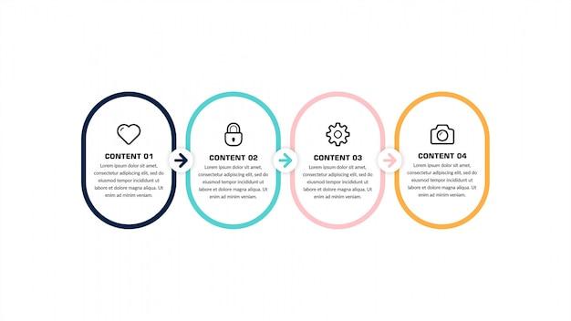 Número de línea de tiempo de infografía para plantilla de estrategia empresarial