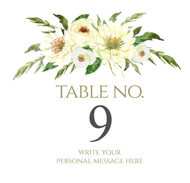 Número de mesa de ramo de flores acuarela para boda.