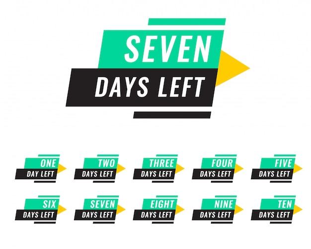 Número moderno de días que quedan las etiquetas