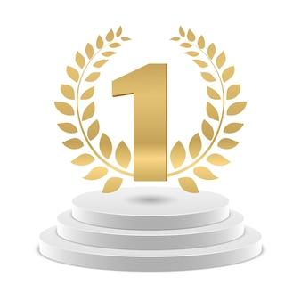 Número de oro 1 y corona en el podio