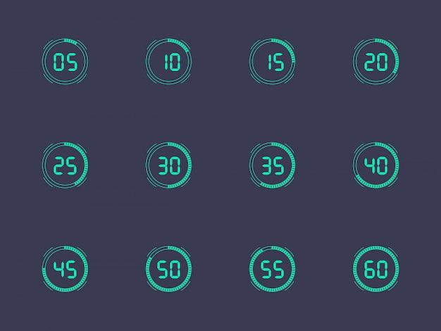 Número de reloj digital configurado con un intervalo de cinco minutos. figuras electrónicas