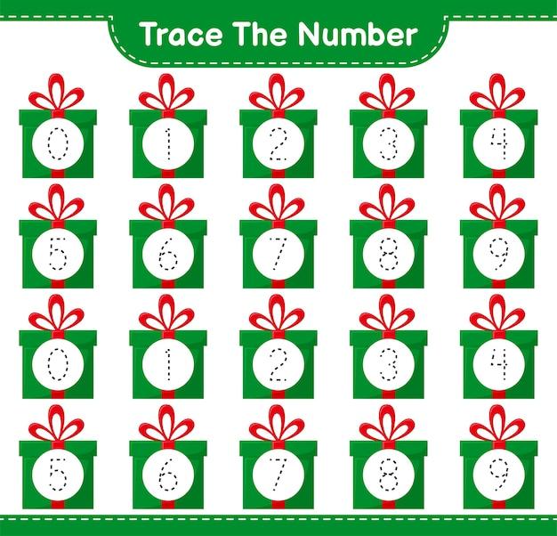 Número de seguimiento con caja de regalo