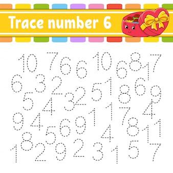 Número de seguimiento práctica de escritura a mano. aprendizaje de números para niños. hoja de trabajo de desarrollo educativo.