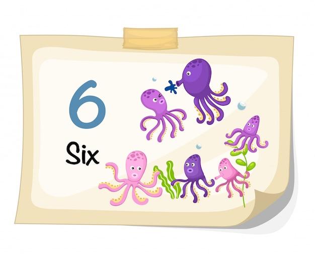 Número seis vector de pulpo