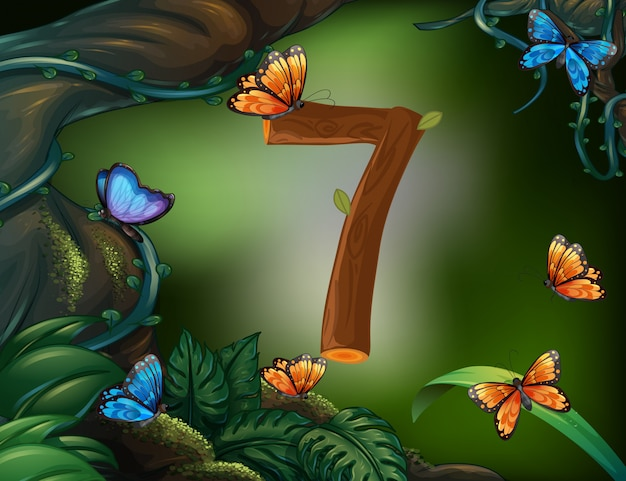 Número siete con 7 mariposas en el jardín.