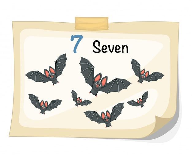 Número siete vector de murciélago