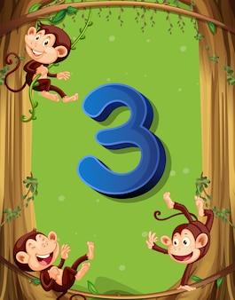 Número tres con 3 monos en el árbol.
