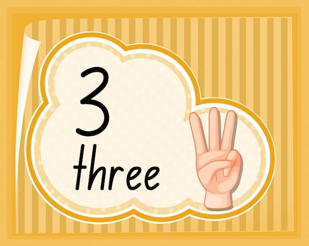 Número tres gesto de la mano