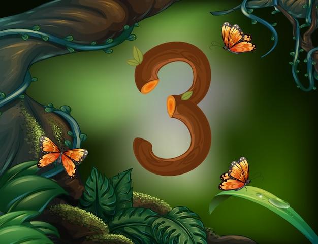 Número tres con mariposas en el jardín.