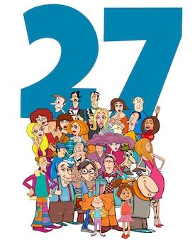 Número veintisiete con personajes de dibujos animados