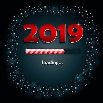 Números 2019 y una barra de carga