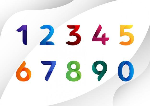 Números abstractos coloridos modernos