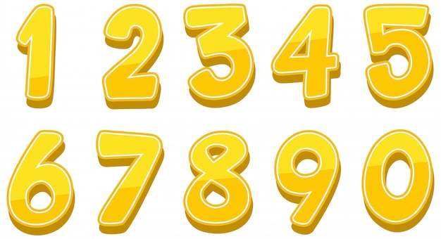 Los números del uno al cero en blanco