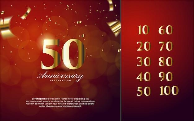 Números de aniversario 10-100 con números de color dorado