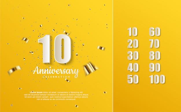 Números de aniversario blancos sobre un amarillo.