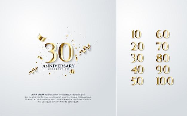Números de aniversario en oro.