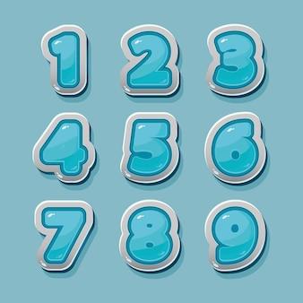 Números azules vectoriales para diseño gráfico y de juegos