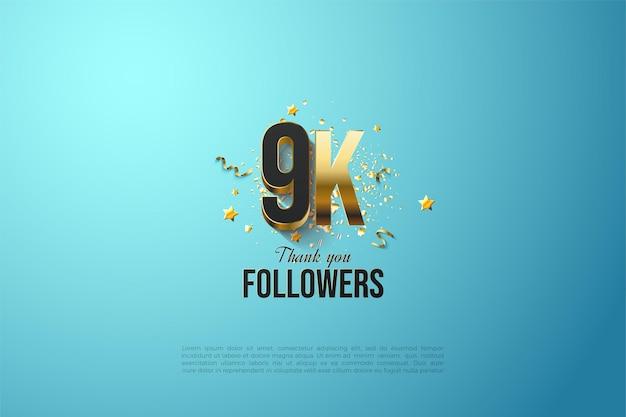 Números chapados en oro para agradecer a los seguidores de 9k