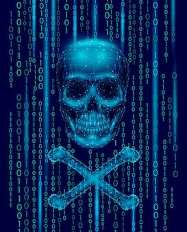 Números de código binario del cráneo de jolly roger, alerta de ataque en línea de la computadora de piratería pirata informático,