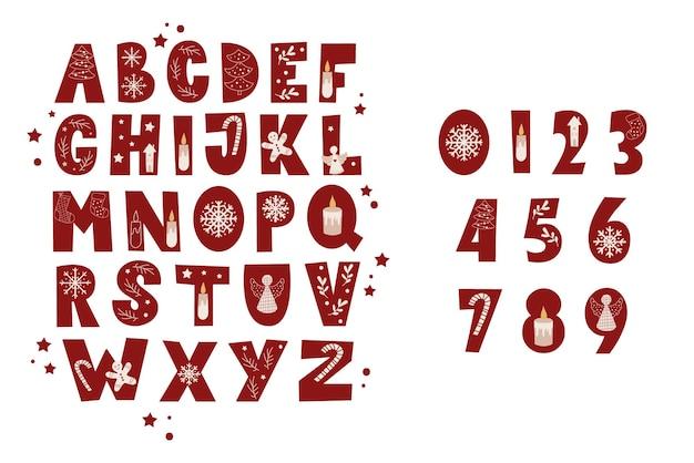 Números y el conjunto de alfabeto de navidad. ilustración vectorial.