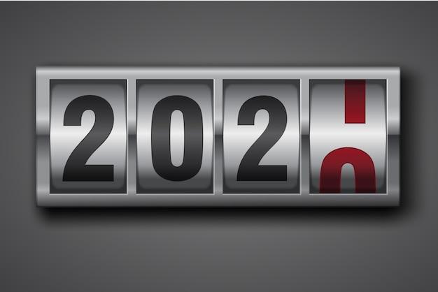 Números de conmutación del contador mecánico de año nuevo