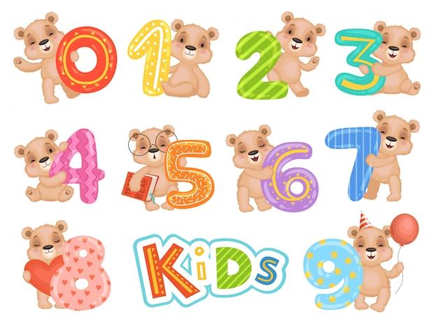 Números de cumpleaños oso. invitación divertida fiesta para niños celebración mascota de dibujos animados de personajes de oso de peluche