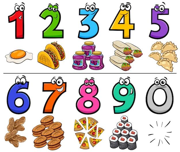 Números de dibujos animados educativos con objetos de comida