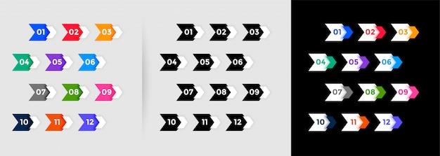 Números direccionales de viñetas del uno al doce